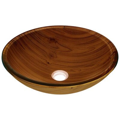 Wood Grain Glass Circular Vessel Bathroom Sink