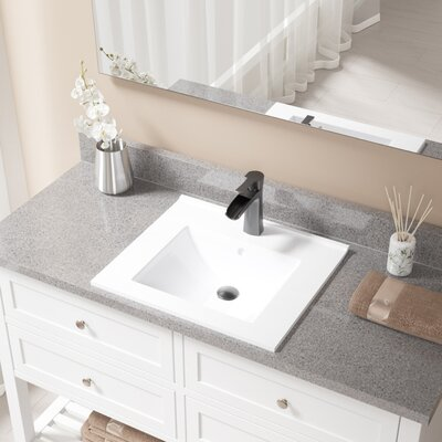 Vitreous China Rectangular Vessel Bathroom Sink with Faucet and Overflow Faucet Finish: Antique Rubbed Bronze