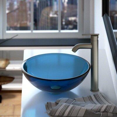 Glass Circular Vessel Bathroom Sink Sink Finish: Aqua
