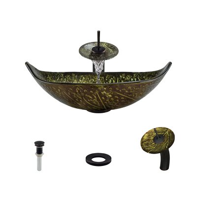 Foil Undertone Specialty Glass Specialty Vessel Bathroom Sink with Faucet Faucet Finish: Antique Rubbed Bronze