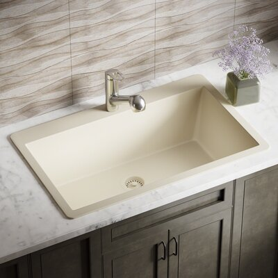 Granite Composite 33 x 21 Drop-in Kitchen Sink with Flange Finish: Beige