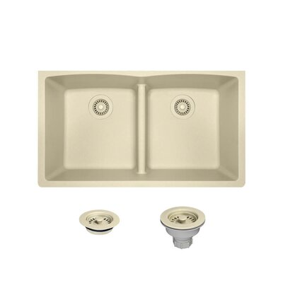 Granite Composite 33 x 19 Double Basin Undermount Kitchen Sink with Strainers and Flange Finish: Beige