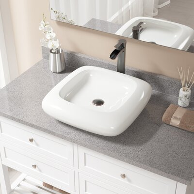 Pillow Top Vitreous China Square Vessel Bathroom Sink with Faucet Sink Finish: Bisque, Faucet Finish: Antique Rubbed Bronze