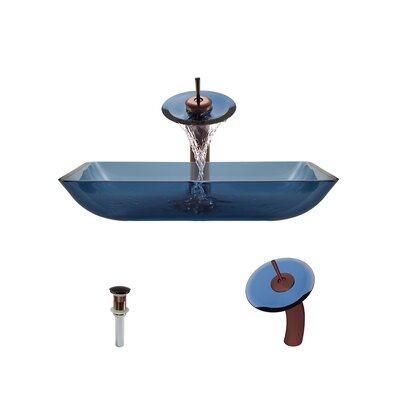 Glass Rectangular Vessel Bathroom Sink with Faucet Sink Finish: Aqua, Faucet Finish: Oil Rubbed Bronze