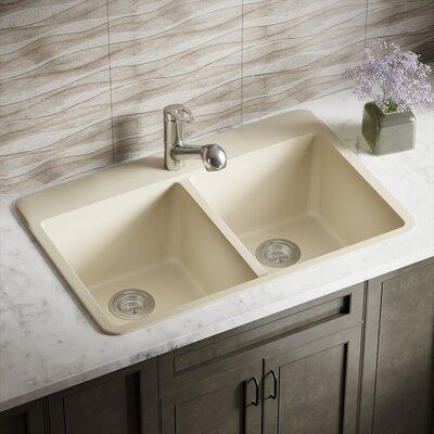 Granite Composite 33 x 22 Double Basin Drop-in Kitchen Sink Finish: Beige