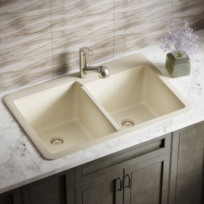 Granite Composite 33 x 22 Double Basin Drop-In Kitchen Sink with Strainers Finish: Beige