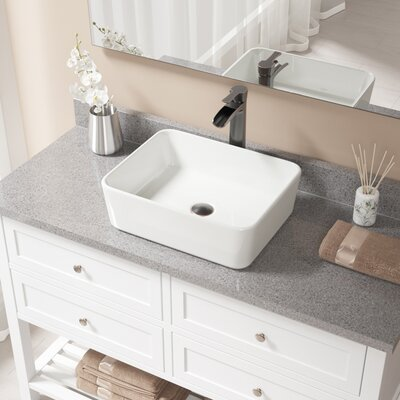 Vitreous China Rectangular Vessel Bathroom Sink with Faucet Sink Finish: Bisque, Faucet Finish: Antique Rubbed Bronze