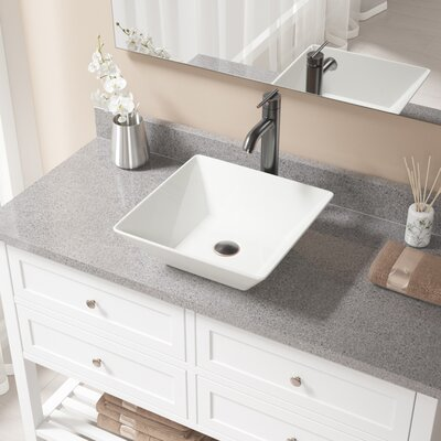 Vitreous China Square Vessel Bathroom Sink with Faucet Sink Finish: Bisque, Faucet Finish: Antique Rubbed Bronze