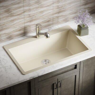 Granite Composite 33 x 21 Drop-In Kitchen Sink with Basket Strainer Finish: Beige