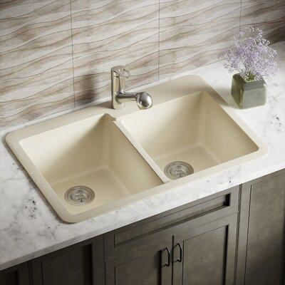 33 x 22 Double Basin Drop-in Kitchen Sink Finish: Beige