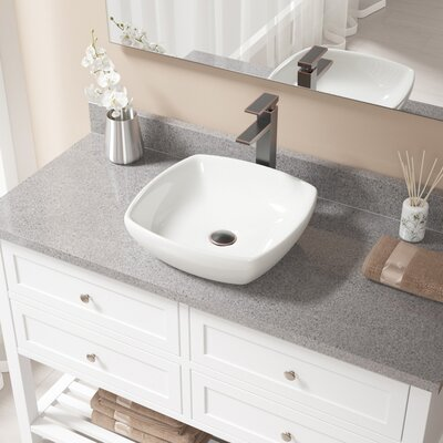Vitreous China Specialty Vessel Bathroom Sink with Faucet Sink Finish: Bisque, Faucet Finish: Antique Rubbed Bronze