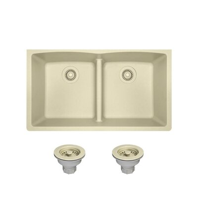 Granite Composite 33 x 19 Double Basin Undermount Kitchen Sink with Strainers Finish: Beige