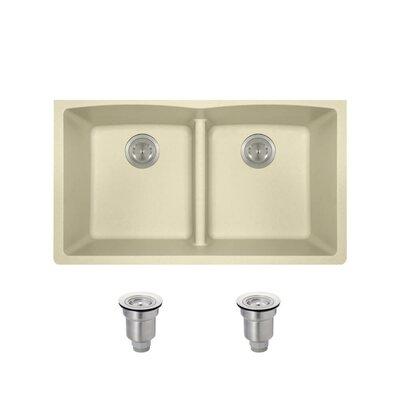 Granite Composite 33 x 19 Double Basin Undermount Kitchen Sink with Basket Strainers Finish: Beige