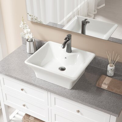 Vitreous China Rectangular Vessel Bathroom Sink with Faucet and Overflow Sink Finish: Bisque, Faucet Finish: Antique Rubbed Bronze