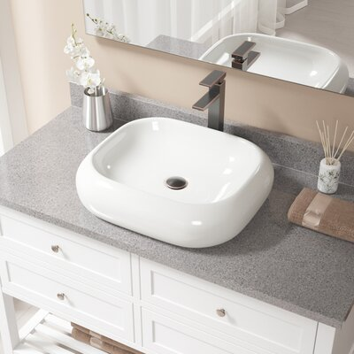 Pillow Top Vitreous China Rectangular Vessel Bathroom Sink with Faucet Sink Finish: Bisque, Faucet Finish: Antique Rubbed Bronze