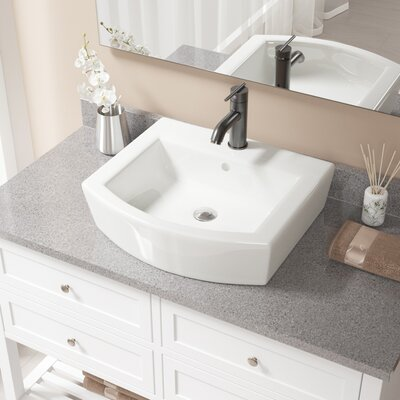 Specialty Vitreous China Specialty Vessel Bathroom Sink with Faucet and Overflow Sink Finish: Bisque, Faucet Finish: Antique Rubbed Bronze