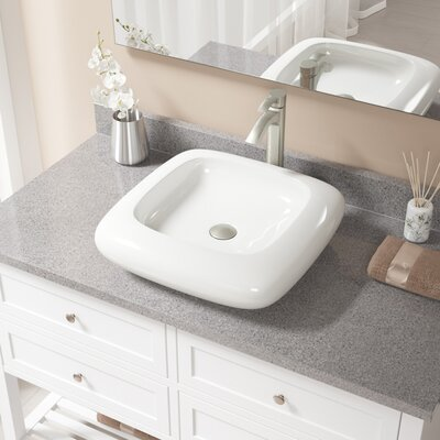 Pillow Top Vitreous China Square Vessel Bathroom Sink with Faucet Sink Finish: Bisque, Faucet Finish: Brushed Nickel