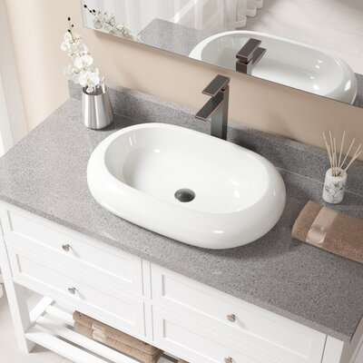 Pillow Top Vitreous China Oval Vessel Bathroom Sink with Faucet Sink Finish: Bisque, Faucet Finish: Antique Rubbed Bronze