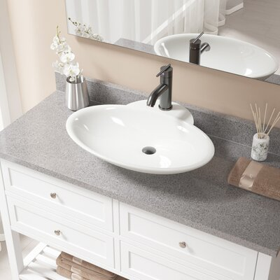 Vitreous China Oval Vessel Bathroom Sink with Faucet and Overflow Sink Finish: Bisque, Faucet Finish: Antique Rubbed Bronze