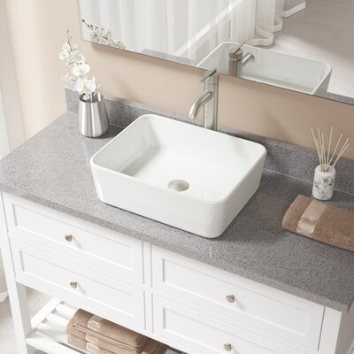 Vitreous China Rectangular Vessel Bathroom Sink with Faucet Sink Finish: Bisque, Faucet Finish: Brushed Nickel