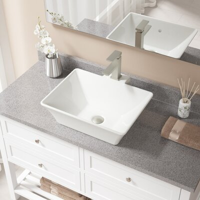 Rectangualr Vitreous China Rectangular Vessel Bathroom Sink with Faucet and Overflow Sink Finish: Bisque, Faucet Finish: Brushed Nickel