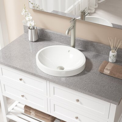 Vitreous China Circular Vessel Bathroom Sink with Faucet and Overflow Sink Finish: Bisque, Faucet Finish: Brushed Nickel