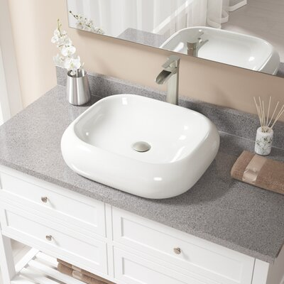 Pillow Top Vitreous China Rectangular Vessel Bathroom Sink with Faucet Sink Finish: Bisque, Faucet Finish: Brushed Nickel