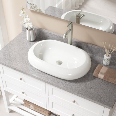 Pillow Top Vitreous China Oval Vessel Bathroom Sink with Faucet Sink Finish: Bisque, Faucet Finish: Brushed Nickel