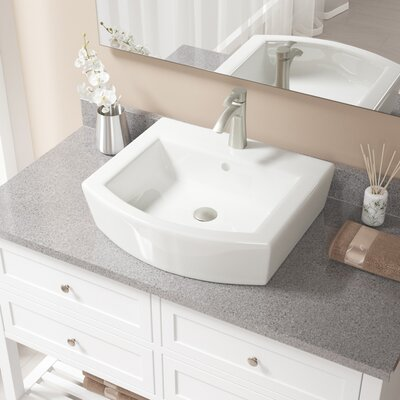 Specialty Vitreous China Specialty Vessel Bathroom Sink with Faucet and Overflow Sink Finish: Bisque, Faucet Finish: Brushed Nickel