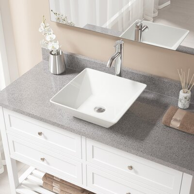 Vitreous China Square Vessel Bathroom Sink with Faucet Sink Finish: Bisque, Faucet Finish: Chrome