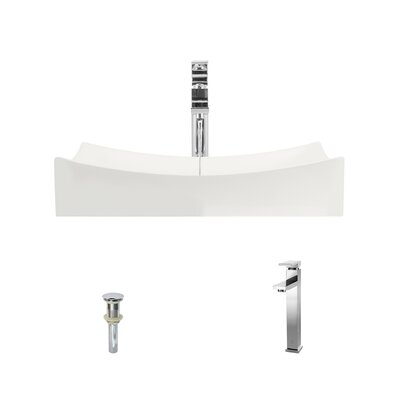 Rectangualr Vitreous China Rectangular Vessel Bathroom Sink with Faucet Sink Finish: Bisque, Faucet Finish: Brushed Nickel