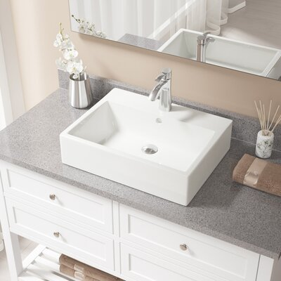 Vitreous China Rectangular Vessel Bathroom Sink with Faucet and Overflow Sink Finish: Bisque, Faucet Finish: Chrome