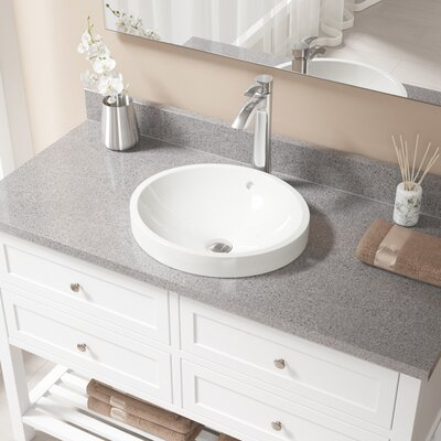 Vitreous China Circular Vessel Bathroom Sink with Faucet and Overflow Sink Finish: Bisque, Faucet Finish: Chrome