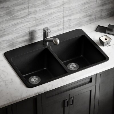 Granite Composite 33 x 22 Double Basin Drop-In Kitchen Sink with Basket Strainers Finish: Black