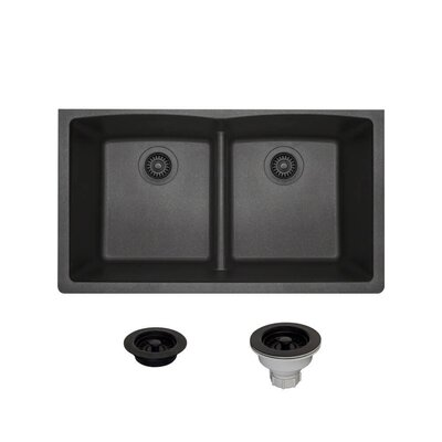 Granite Composite 33 x 19 Double Basin Undermount Kitchen Sink with Strainers and Flange Finish: Black