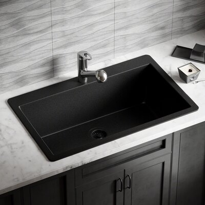 Granite Composite 33 x 21 Drop-in Kitchen Sink with Flange Finish: Black