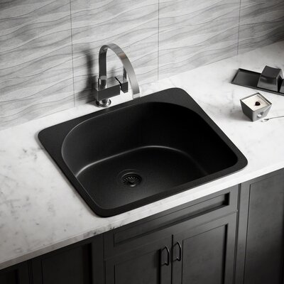 Granite Composite 25 x 22 Drop-in Kitchen Sink with Strainer Finish: Black
