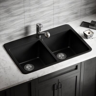 Granite Composite 33 x 22 Double Basin Drop-in Kitchen Sink Finish: Black