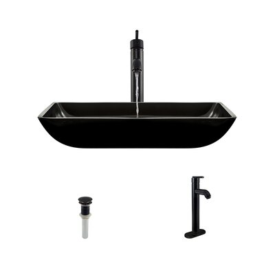 Glass Rectangular Vessel Bathroom Sink with Faucet Sink Finish: Black, Faucet Sink: Antique Rubbed Bronze