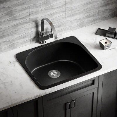 Granite Composite 25 x 22 Drop-in Kitchen Sink Finish: Black