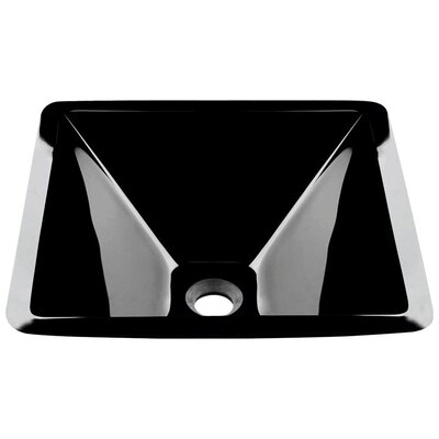 Glass Square Vessel Bathroom Sink Sink Finish: Black