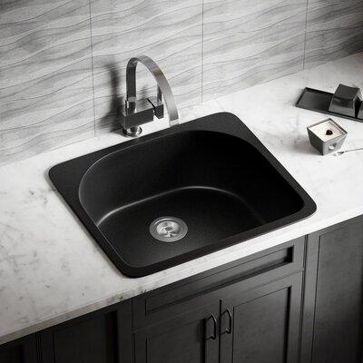 Granite Composite 25 x 22 Drop-In Kitchen Sink with Basket Strainer Finish: Black