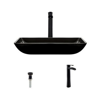 Glass Rectangular Vessel Bathroom Sink with Faucet Sink Finish: Black, Faucet Finish: Antique Rubbed Bronze