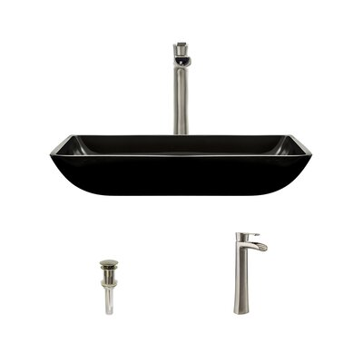 Glass Rectangular Vessel Bathroom Sink with Faucet Sink Finish: Black, Faucet Finish: Brushed Nickel