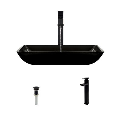 Rectangualr Glass Rectangular Vessel Bathroom Sink with Faucet Sink Finish: Taupe, Faucet Finish: Chrome