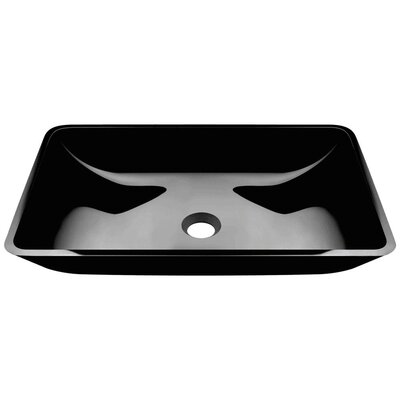 Glass Rectangular Vessel Bathroom Sink Sink Finish: Black