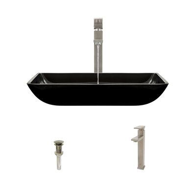 Rectangualr Glass Rectangular Vessel Bathroom Sink with Faucet Sink Finish: Black, Faucet Finish: Brushed Nickel