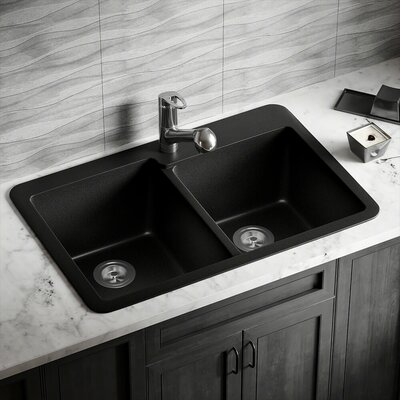 33 x 22 Double Basin Drop-in Kitchen Sink Finish: Black
