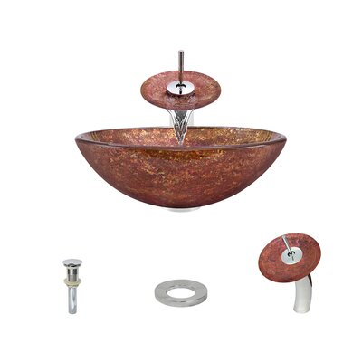 Foil Undertone Glass Circular Vessel Bathroom Sink with Faucet Faucet Finish: Chrome