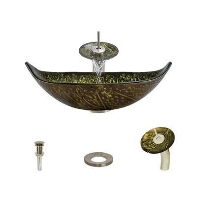 Foil Undertone Specialty Glass Specialty Vessel Bathroom Sink with Faucet Faucet Finish: Brushed Nickel